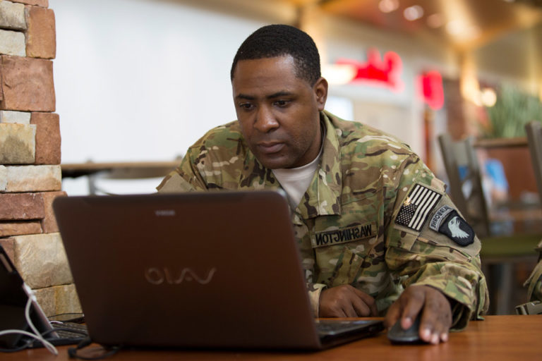 soldier at laptop